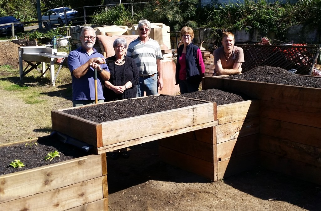 Raised Garden Beds with Garden Members and Cr Geraldine Knapp